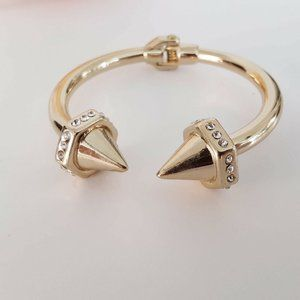 Anthropologie Bracelet Gold Open Hinge Bangle Spik